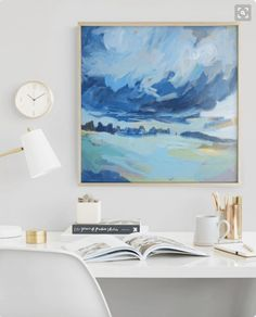 Gorgeous art print from Minted. They have a beautiful collection of contemporary art prints. Love this small work space. Wall Art Prints, Fine Art Prints, Diy Wall Art, Painting Inspiration, Art Projects, Contemporary Art, Abstract Art, Home, Art Paintings