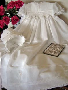 Smocked for Charlotte Rose - Voile Christening gown