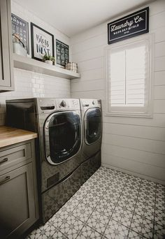 Subway tile and shiplap in laundry room that are both stylish and functional. From extra storage space and hidden appliances to pops of color and reclaimed wood, these laundry rooms ideas will inspire your next home renovation project. #HomeAppliancesPop