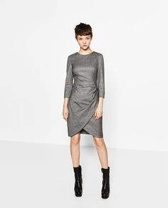 CHECK DRESS WITH DRAPED SKIRT-DRESSES-WOMAN | ZARA United States