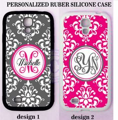 PERSONALIZED GREY HOT PINK DAMASK MONOGRAM CASE For Samsung Galaxy S7 S6 NOTE 5 #UnbrandedGeneric