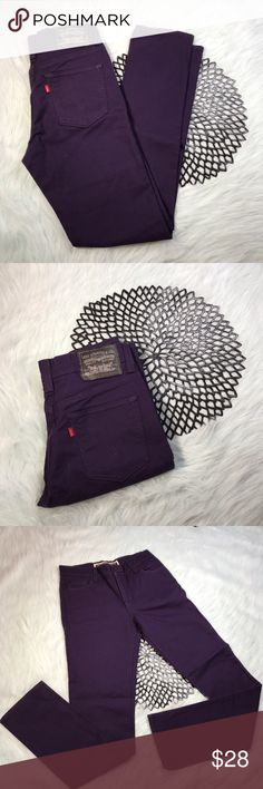 Levi The Original Jeans Purple Super Skinny Jeans Levi The Original Jeans Purple Super Skinny Jeans 510. Size 30. Made of 96% cotton & 2% spandex. Pre-owned, but in excellent used condition. No holes, stains or pilling. Measurements: Waist laying flat is 14 inches. Length is 41 inches. Inseam is 31 inches. Rise is 9 1/2 inches. Levi's Jeans Skinny