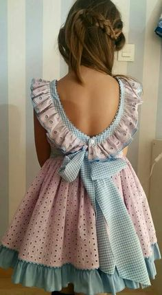 Nice ruffle gimham eyelet girl dress