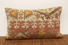 Decorative lumbar kilim pillow 12 x 20 Anatolian by kilimwarehouse, $52.00