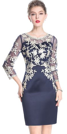 Party Embroidery O-Neck 3/4 Sleeve Mesh Bodycon Dress