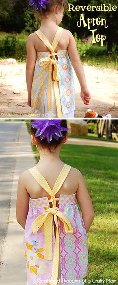 Make this adorable Reversible Apron Top with the linked free pdf pattern.