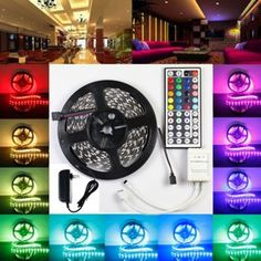 Lightahead® 300 LED Water Resistant Flexible Strip Light - feet Meter) Color Changing RGB LED Strip Light Kit with Remote Control, Multicolor - Gamer House Ideas 2019 - 2020 Led Curtain Lights, Icicle Lights, Indoor String Lights, Christmas String Lights, Fairy Lights, Wall Lights, Room Lights, Rgb Led Strip Lights, Led Light Strips