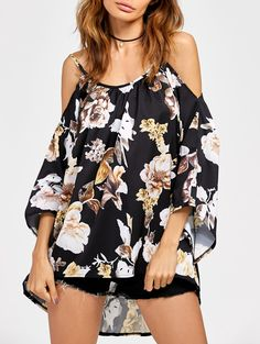 $8.96 Cold Shoulder High Low Chiffon Printed Blouse
