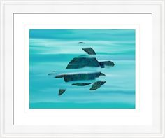 sea turtle 3m blue green, by  fractal mandala art