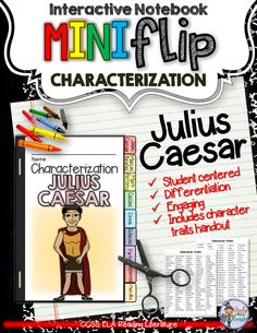 Julius Caesar: Interactive Notebook Characterization Mini Flip ($)