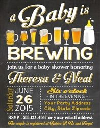 Baby Shower Beer Invitation, A baby is brewing, Couple baby shower invitations, co-ed baby shower party ideas