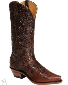 Women's Boulet Tooled Dankan Brown and Ranger Chestnut Cowgirl Boots