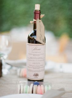 Menu and Table Number on a wine bottle...love it!