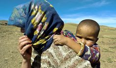berber nomad and child -    High Atlas, Morocco        ...
