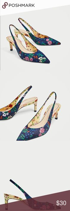 "Slingback floral shoes (last one) Floral slingback shoes Heels 2.5"" Elastic strap around the back of the ankle Zara Shoes Heels"