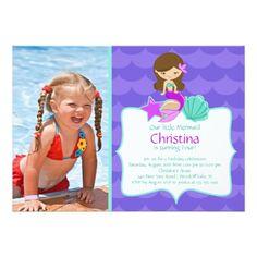 Pool Party Invitations Cute Brunette Mermaid Photo Birthday Invitation