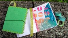 Easy DIY Beautiful Handmade Journal Tutorial by The Frugal Crafter.  Love the faux leather acrylic and craft paper cover solution!