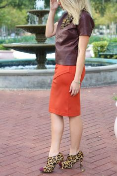 #cabi – Melissa of @popofstyle embraces the fall colors in our Overlay Pencil Skirt.