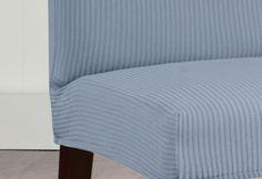 Photo of Stretch Seersucker Short Dining Chair Slipcover