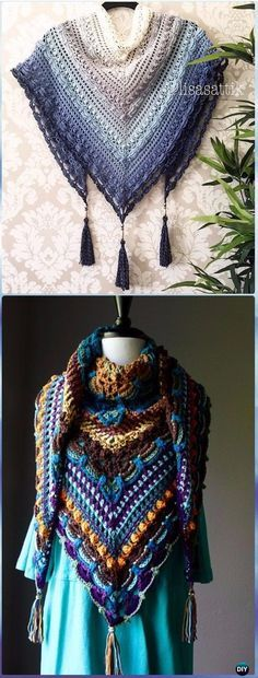 Crochet Lost in Time Shawl Free Pattern - Crochet Women Shawl Sweater Outwear Free Patterns