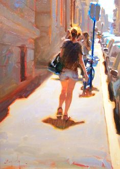 """June in Paris"" - Kim English, oil on canvas {contemporary figurative artist female back woman legs sidewalk city street landscape painting}"