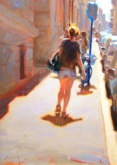 """June in Paris"" - Kim English, oil on canvas {contemporary figurative artist female back woman legs sidewalk city street landscape painting}"