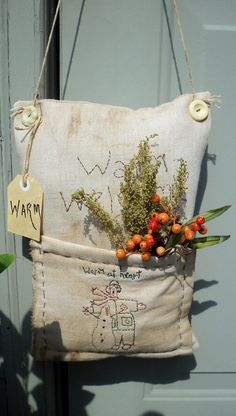 Primitive warm at heart hanging pillow by 4theluvofprimitives, $25.00
