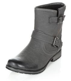 Grey Buckle Short Biker Boots