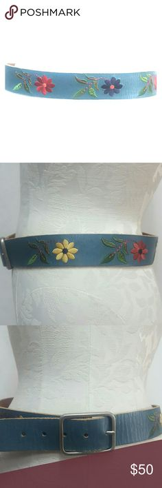 Linea Pelle leather embroidered belt Size Medium M Linea Pelle in mint condition.  Size medium, leather, embroidered, 42 inches long , 1.6 inches wide. Thank you Linea Pelle Accessories Belts
