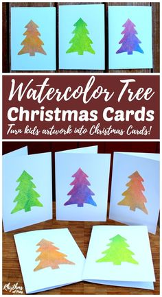 DIY handmade Watercolor tree Christmas cards are an easy way to make use of children's artwork. Create new watercolor paintings or use artwork you already have with the free printable template. Make some simple homemade cards to share with your friends an