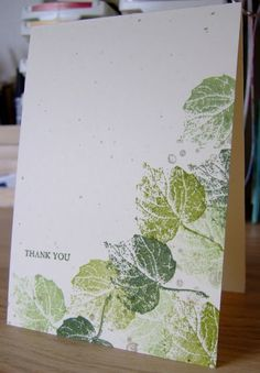 Supplies  Stamps: French Foliage, Faith in Nature (the sentiment)  Ink: Certainly Celery, Old Olive, Always Artichoke, Crumb Cake for the splodges  Card:  Confetti Cream #Cake