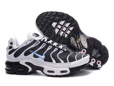 premium selection bc454 3ffab Chaussures de Nike Air Max Tn Requin Femme Blanc Noir et Bleu Nike Tn Femme