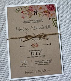 Rustic Wedding Invitation #WeddingInvitations