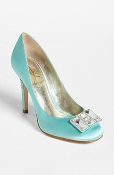 Blue satin pumps!