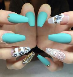 Turquoise green matte nails design