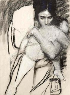 Mother and child drawing by Judy Drew Life Drawing, Drawing Sketches, Painting & Drawing, Art Drawings, Baby Drawing, Art And Illustration, Mary Cassatt, Wow Art, Mother And Child