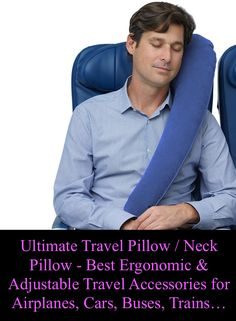 Travelrest - Ultimate Travel Pillow / Neck Pillow - Best Ergonomic, Patented & Adjustable Travel Accessories for Airplanes, Cars, Buses, Trains (Rolls Up Small)