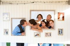 The Buttons crafted a picture wall photobooth for their guests to pose in during the cocktail hour.
