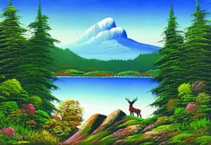 simple landscape paintings of mountains - Google Search