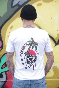 Tattoo T-Shirts : Paradise Lost  Dream of following sailors and escape to paradise island leaving this screwed-up world behind. Combined with our 'death or dishonour' skull motif you'll have all corners covered. Sailor Tattoos, Tattoo T Shirts, Skull Tattoo Design, Paradise Island, Cotton Lights, Sailors, Old School, Organic Cotton, Street Wear
