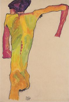 Posterlounge Acrylic print 20 x 30 cm Standing half naked with a brown shirt by Egon Schiele