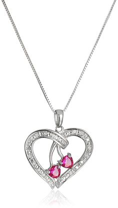 Sterling Silver Created Ruby and Diamond Duo Hearts Pendant Necklace, 18' >>> Check out this great product.