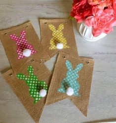 Feb 2016 Hi everyone, Today I wanted to show you how to make this quick, easy and inexpensive DIY Easter bunny banner. Here is a pic and a list of the items you will need: Assorted acrylic paint colors. Spring Crafts, Holiday Crafts, Holiday Fun, Easter Projects, Easter Crafts, Easter Decor, Diy Banner, Burlap Banners, Bunting Banner