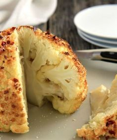 Whole roasted cauliflower is done in a snap with little effort, but tastes like you've put all the care in the world into making it and it looks amazing! - Everyday Dishes & DIY