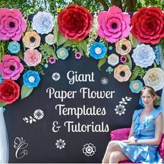 Giant Paper Flowers/ Paper Rose Templates set of 5 - Catching Colorlfies