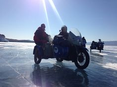 Real motorcycling - A Ural outfit on the ice of Lake Baikal (Siberia)