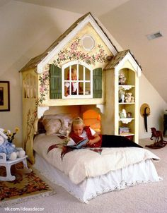 What a beautiful bed and loft to play in! Bedroom Wall, Girls Bedroom, Bedroom Decor, Room Girls, Teen Bedrooms, Bedroom Storage, Kid Beds, Bunk Beds, Playhouse Bed