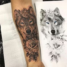 Tattoo Old School Wolf - - - Tattoo Hombre Bicep Dream Tattoos, Body Art Tattoos, Small Tattoos, Owl Tattoos, Tatoos, Wolf Tattoos For Women, Sleeve Tattoos For Women, Wolf Tattoo Design, Couple Tattoos