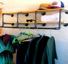 50 inch industrial Clothing Rack and Double Shelf - Closet Organizer - Laundry Room Shelf - Clothes Hanger - Rustic by CoronaConceptsCo on Etsy