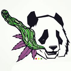 Digital illustration for a friends clothing brand #azcendclothing . Panda bear. Weed leaf. And whatever that green thing is. Initially smoke but after I colored it... More like a cola/nug